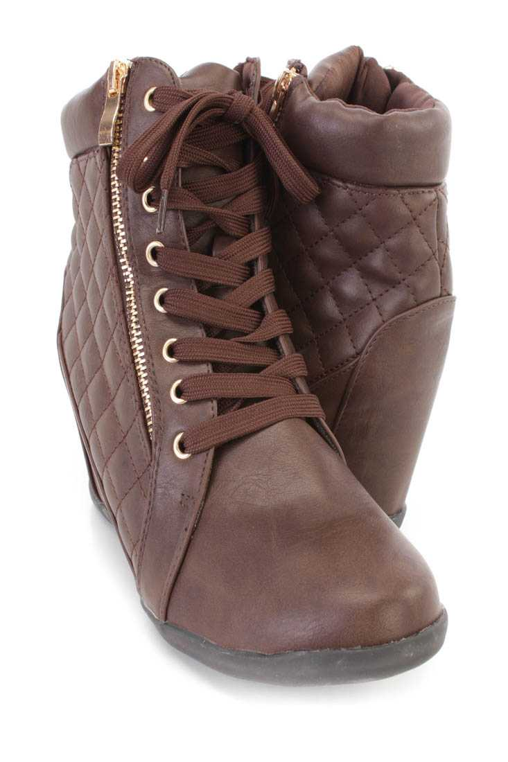 Brown Lace Up Quilted Sneaker Wedges Faux Leather