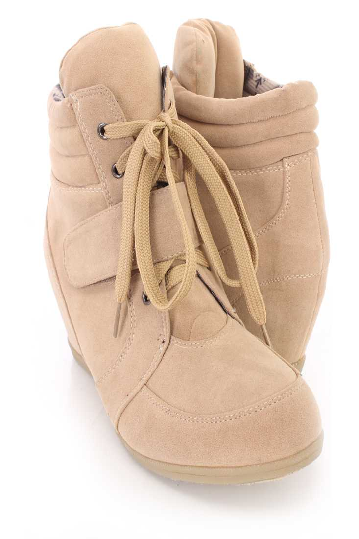 Beige Lace Up Mid Strap Sneaker Wedges Faux Suede