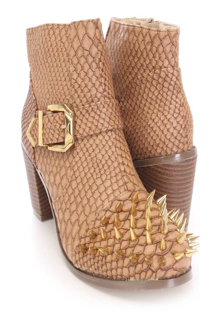Brown Spike Studed Ankle Booties Faux Croc