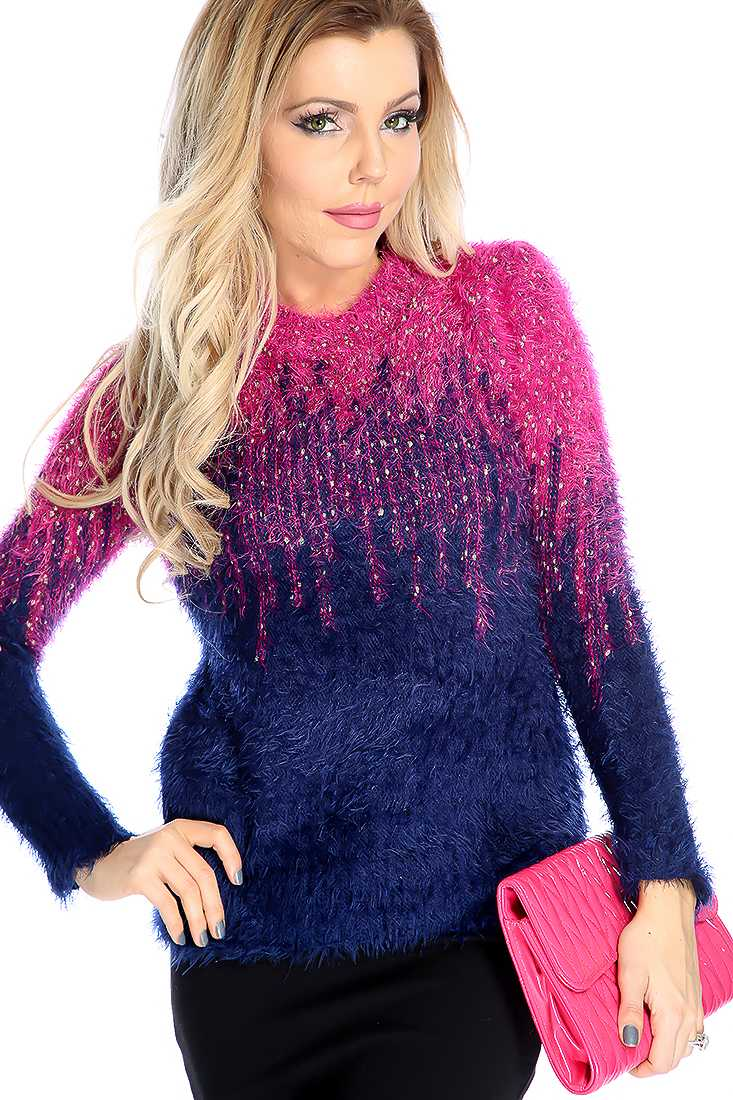 Fuchsia Gradient Mohair Long Sleeve Sweater Top