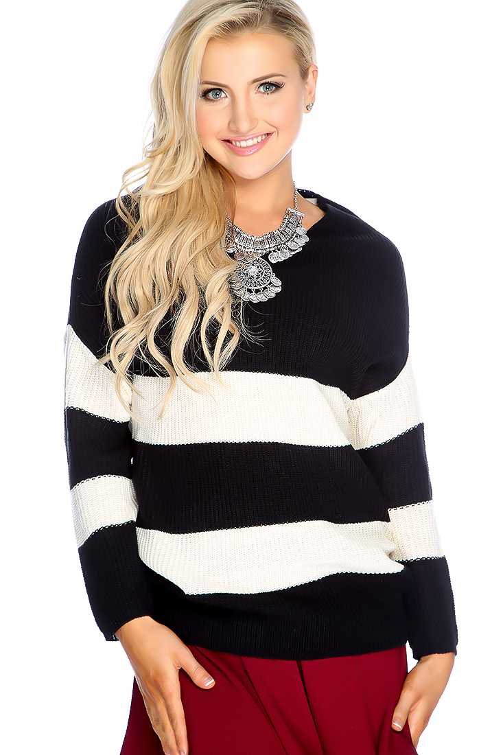 Black Cream Long Sleeve Two Tone Sweater Top