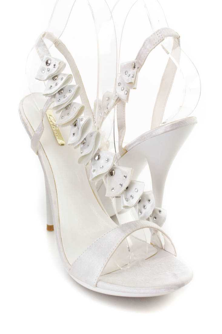 White Rhinestone Ruffled Cross Strap Open Toe Heels Satin