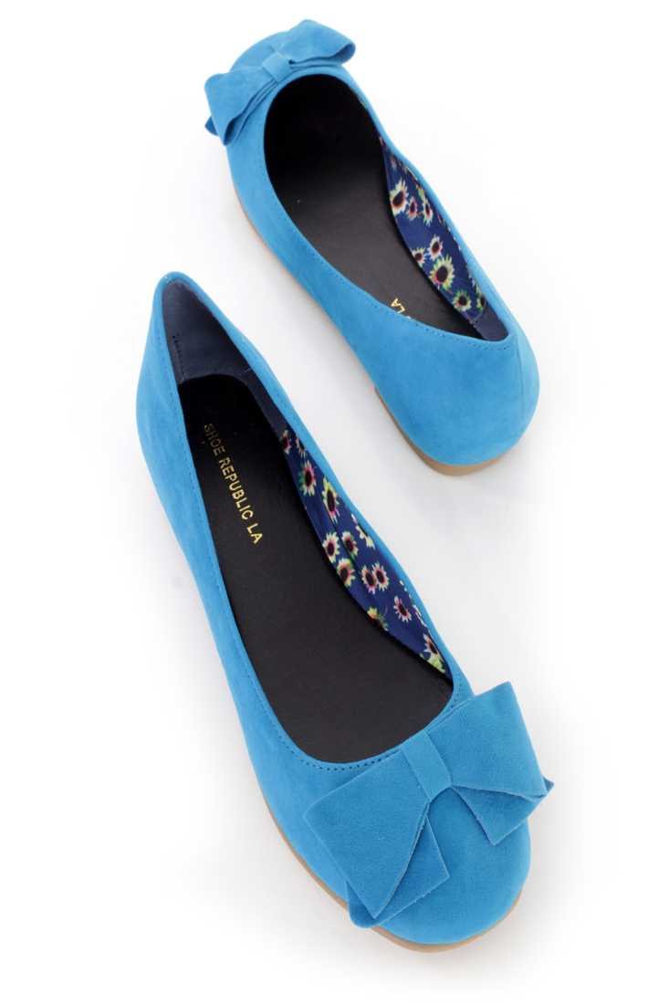 Turquoise Bow Tie Accent Ballet Flats Faux Suede