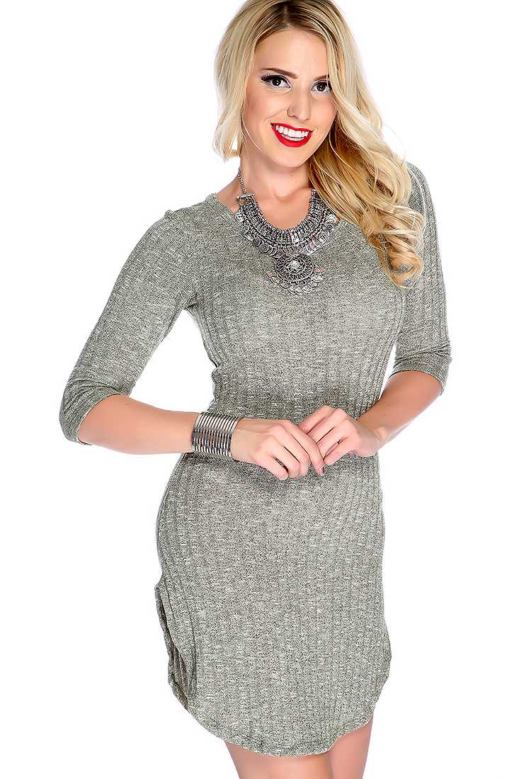 Sexy Olive Quarter Sleeves Round Neck Side Slit Casual Dress