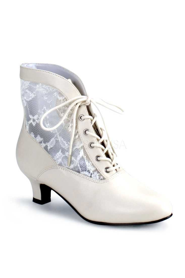 Ivory Lace Inset Victorian Booties Faux Leather
