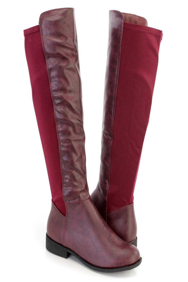 Wine Knee High Riding Boots Faux Leather Nylon