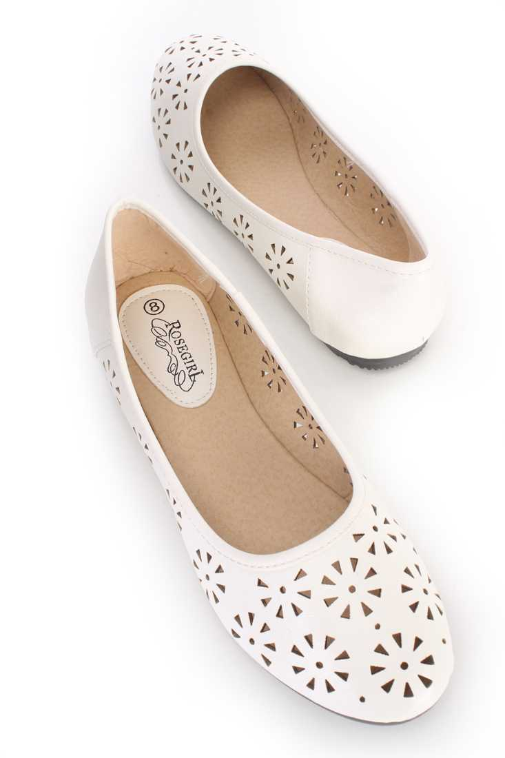White Perforated Closed Toe Ballet Flats Faux Leather