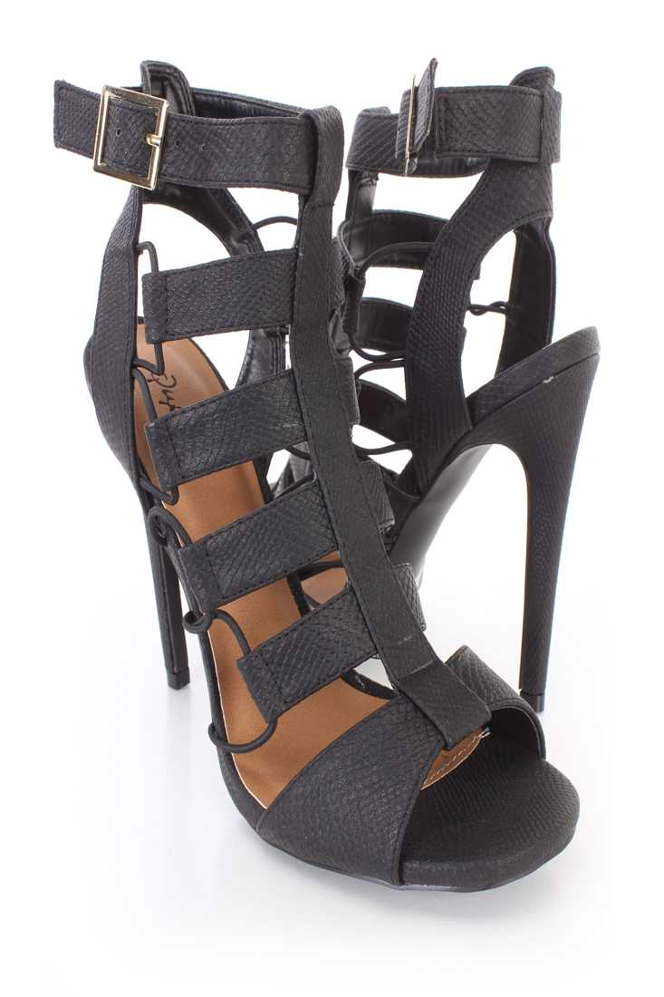 Black Snake Skin Textured Strappy Booties Faux Leather