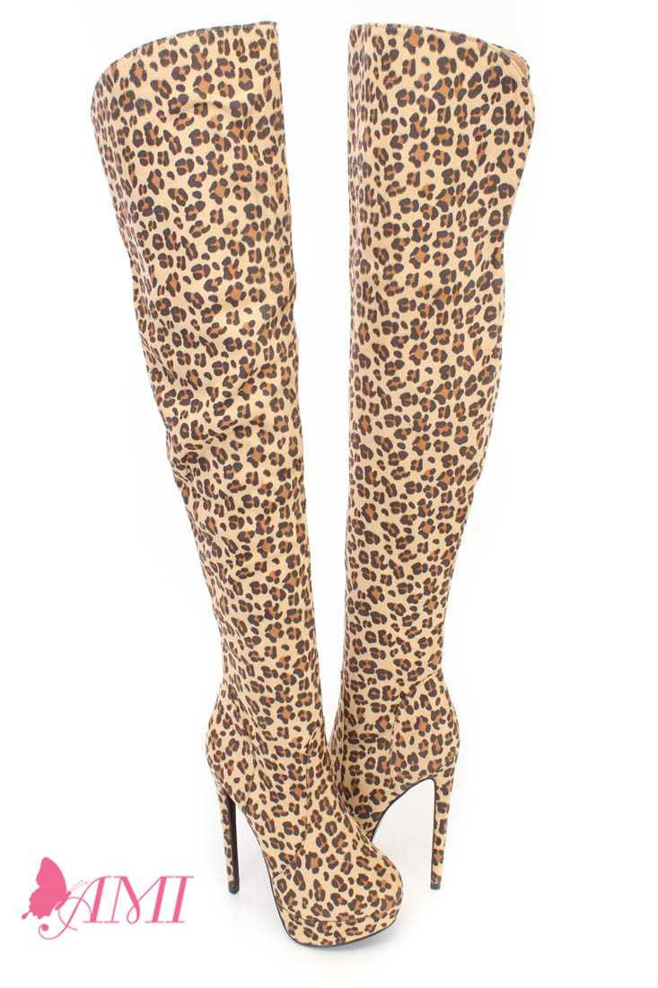 Leopard Thigh High Platform High Heel Boots Faux Suede