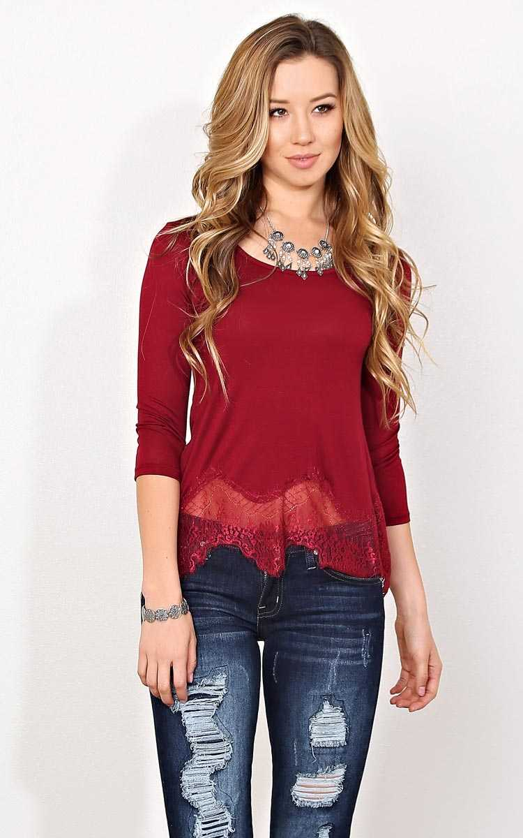 Burgundy Lace Trim Boxy Knit Top - LGE - Burgundy in Size Large by Styles For Less