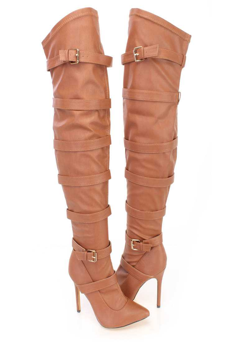 Cognac Strappy Thigh High Heel Boots Faux Leather