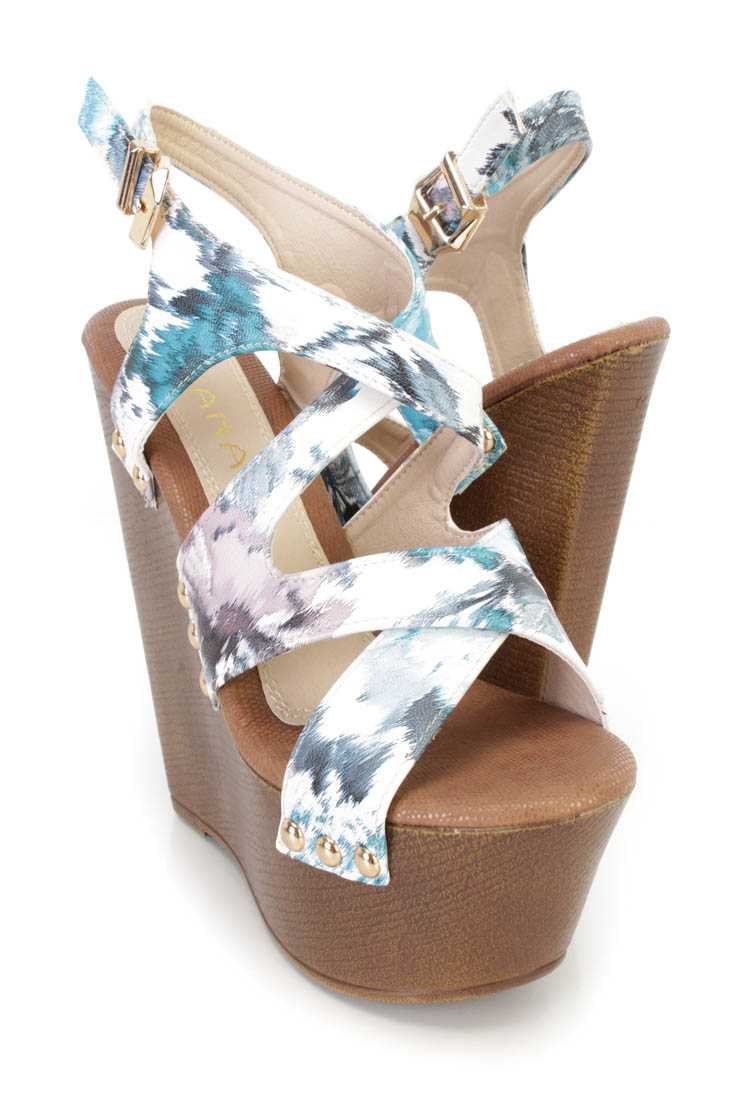 Blue Faux Wooded Platfom Wedge Faux Leather