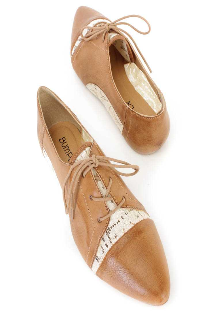 Cognac Crochet Cut Out Oxford Flats Faux Leather