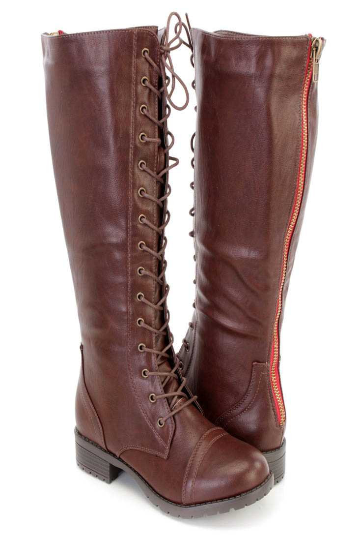 Brown Lace Up Mid Calf Combat Boots Faux Leather