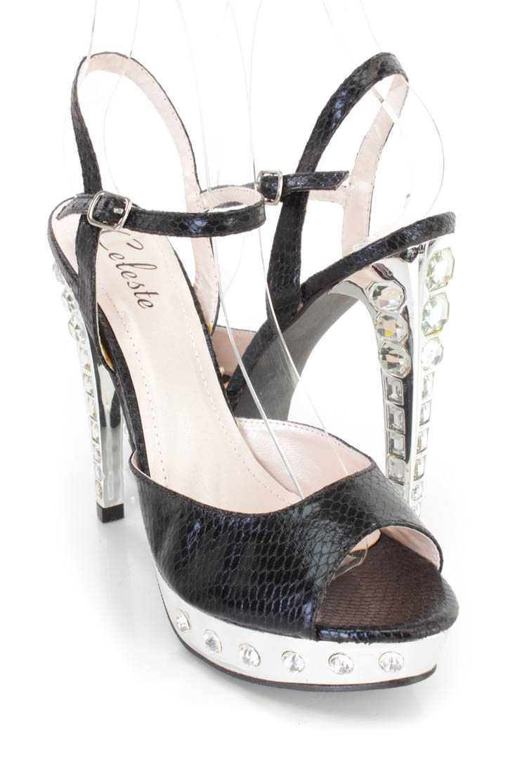 Black Rhinestone Peep Toe High Heels Faux Leather