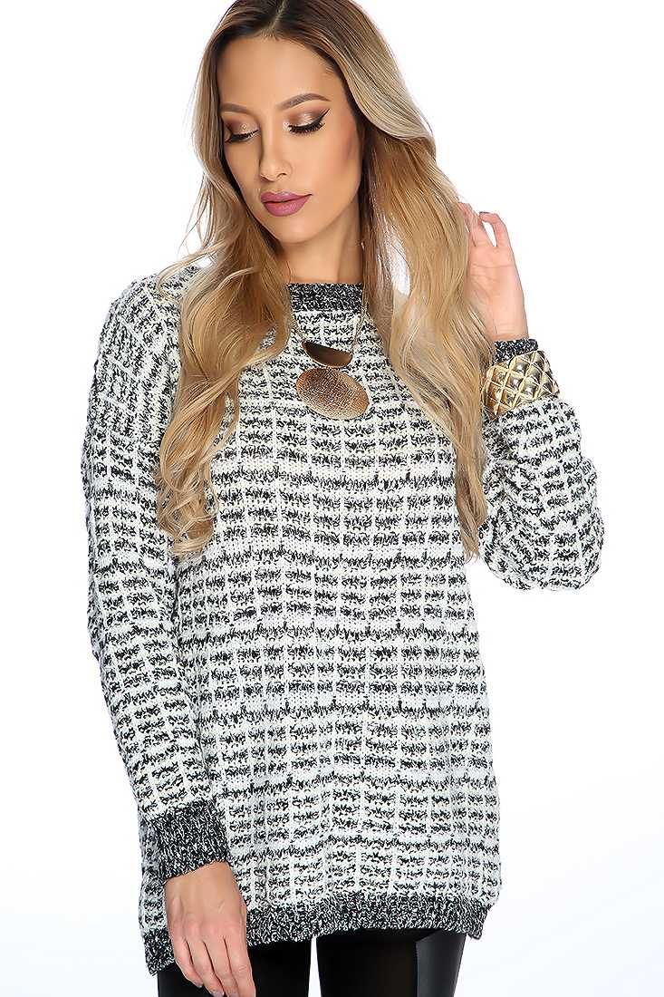 Black White Long Sleeve Round Neck Sweater