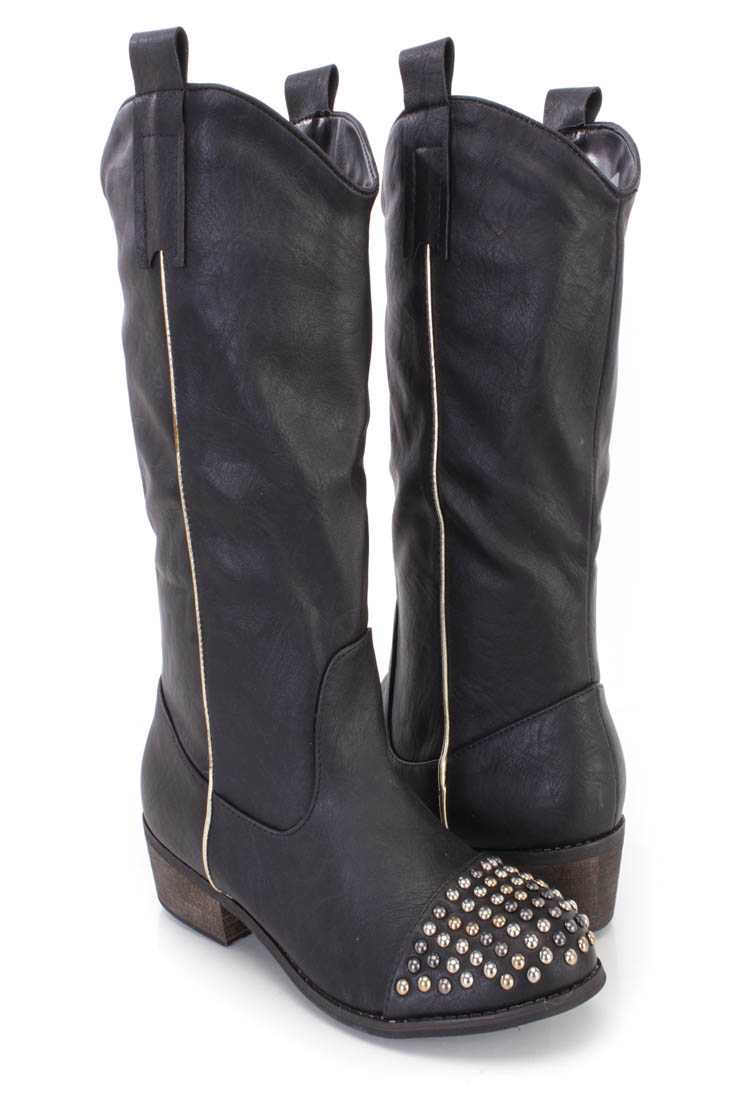 Black Studded Closed Toe Cowboy Boots Faux Leather