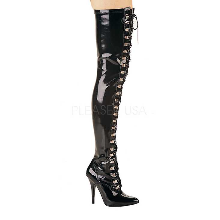 Black Lace Up Thigh High Boots Patent