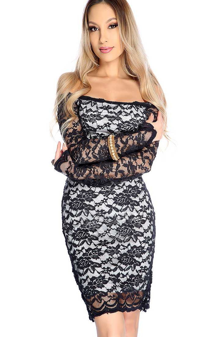 Sexy Black Off the Shoulder Long Sleeve Floral Lace Cocktail Dress