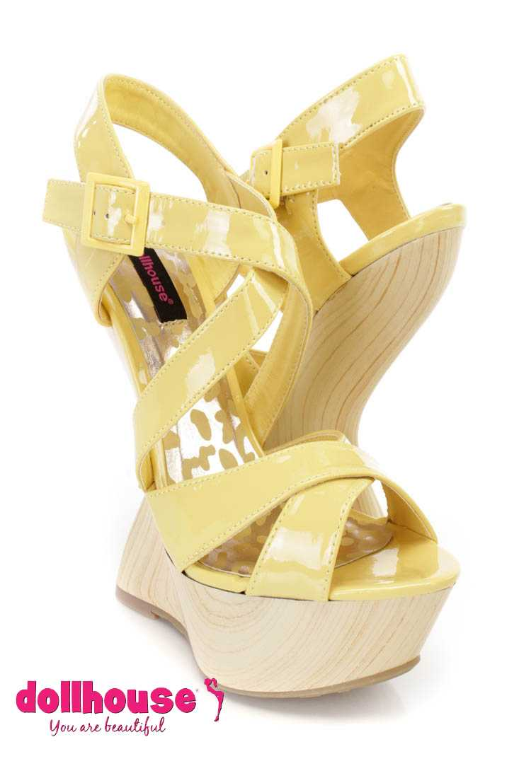 Lemon Cross Strap Gravity Wedges Patent Faux Leather