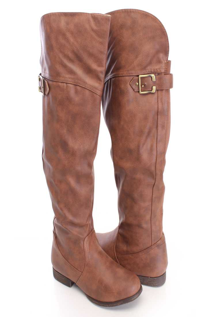 Tan Buckle Accent Knee High Boots Faux Leather