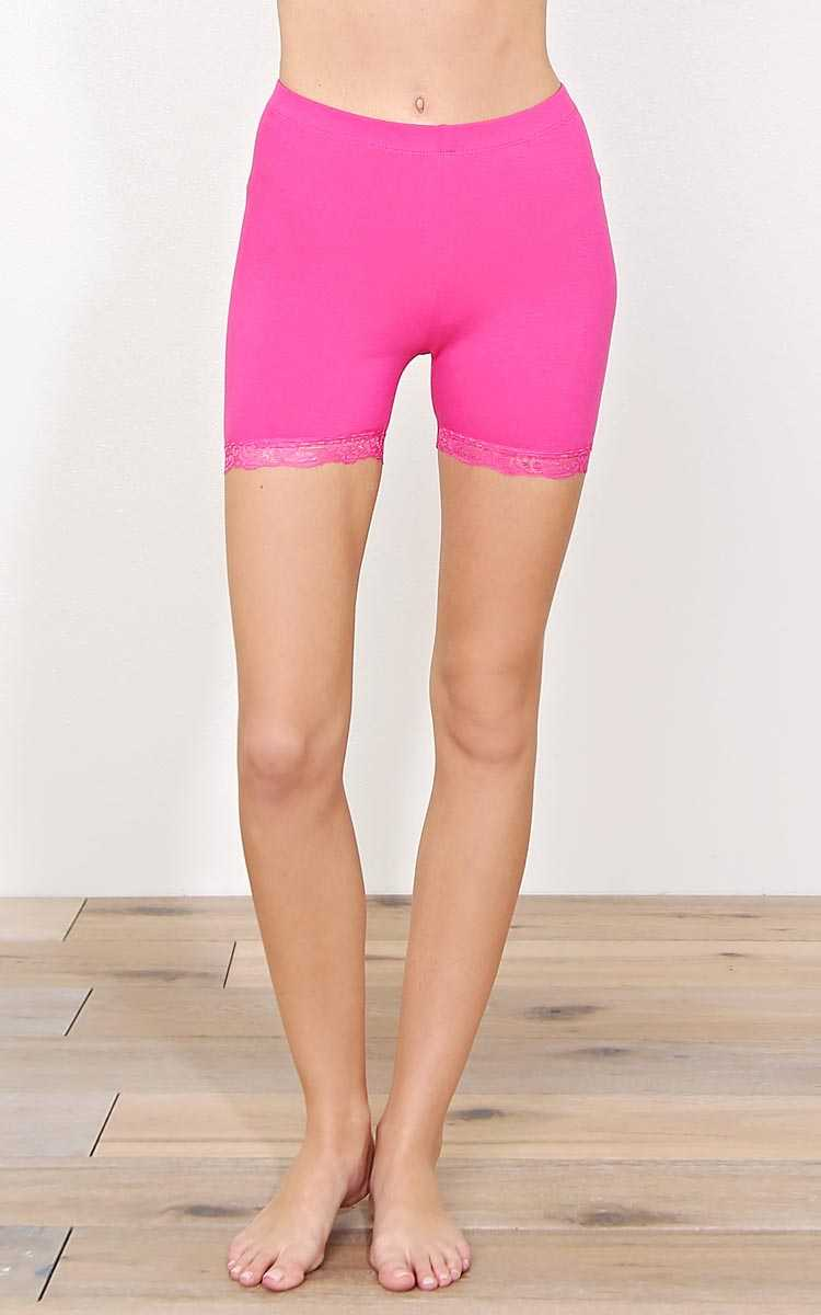 Pink Lace Trim Bike Shorts - - Pink in Size by Styles For Less