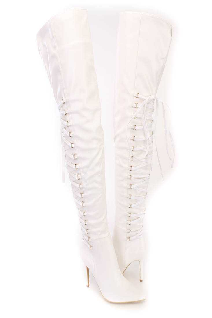 White Lace Up Back Thigh High Heel Boots Faux Leather