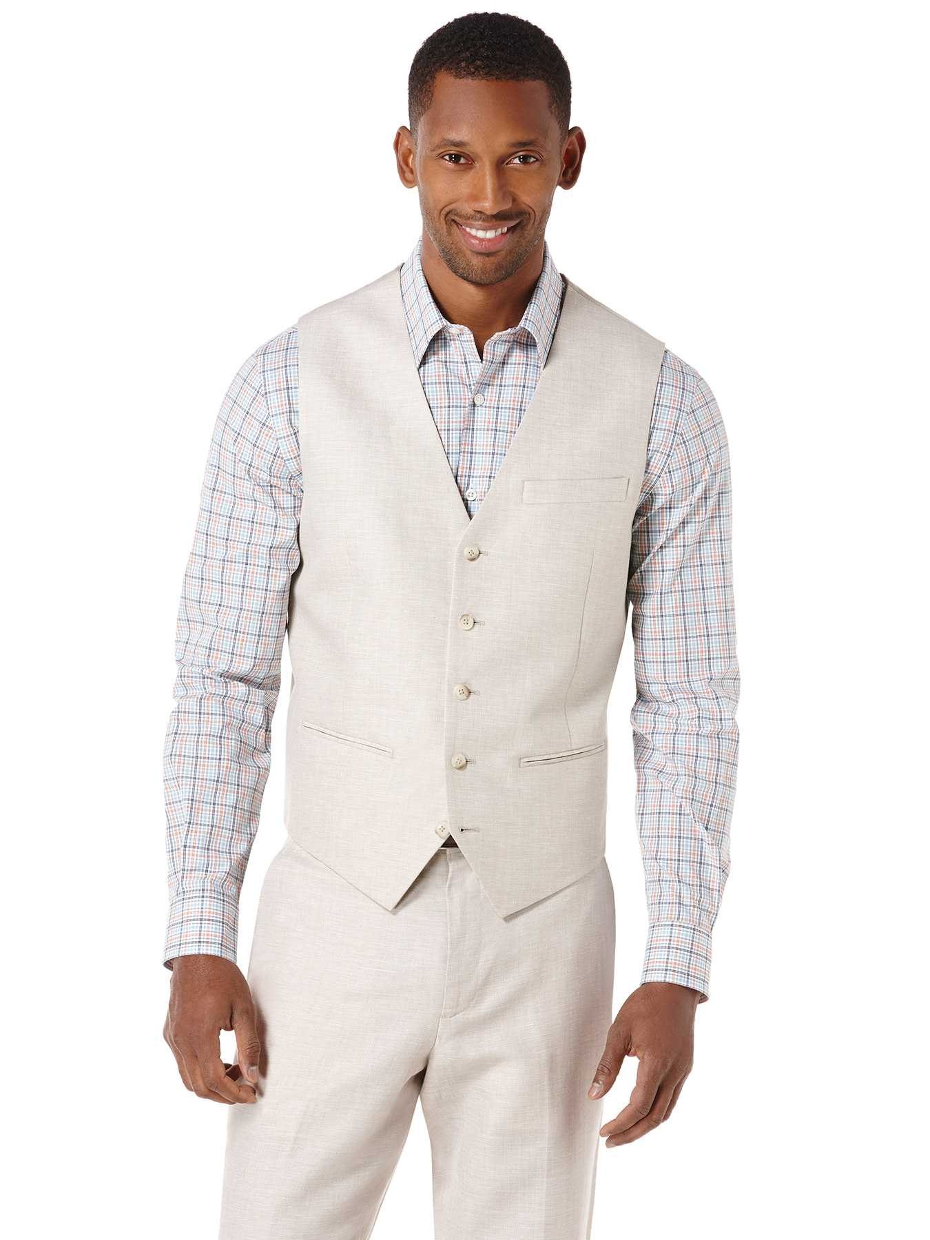Perry Ellis Big and Tall Linen Cotton Herringbone Suit Vest