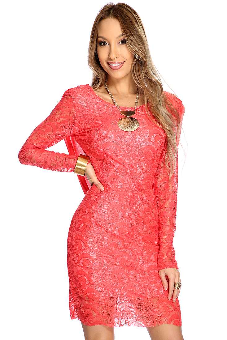 Orange Lace Long Sleeves Sexy Party Dress