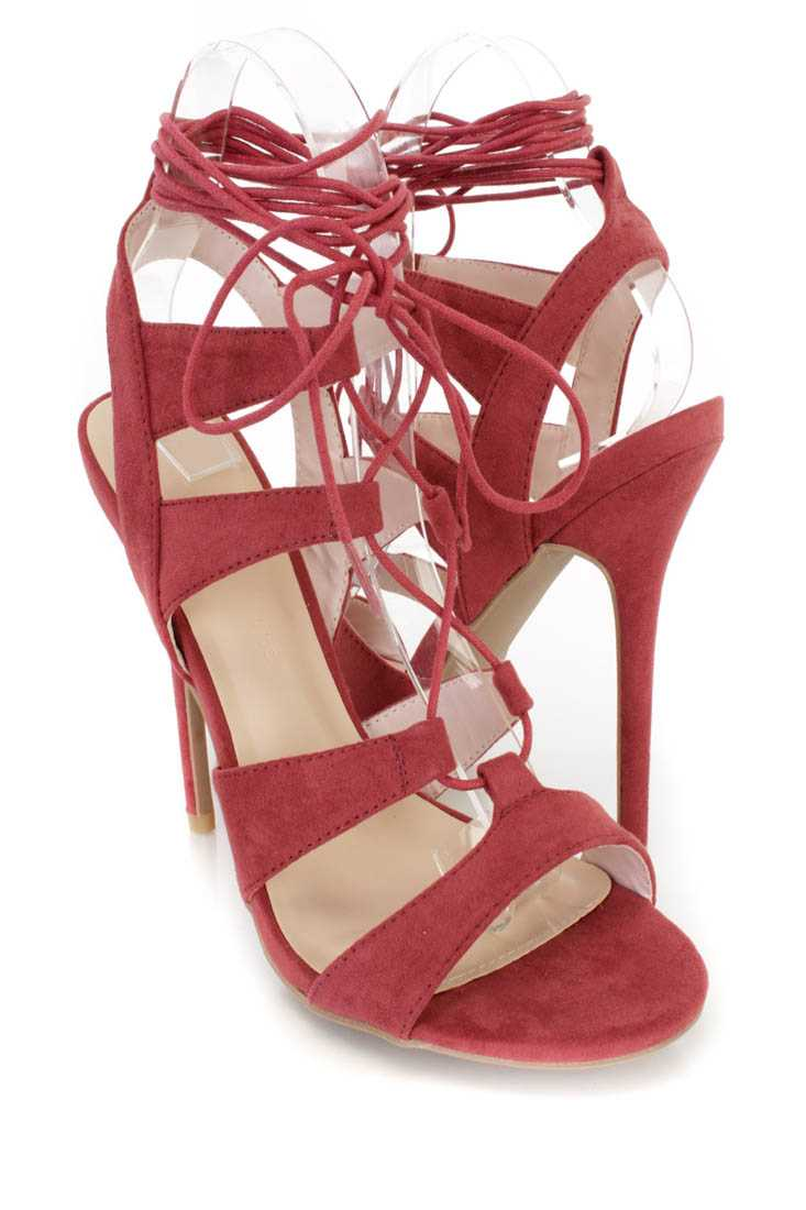 Marsala Peep Toe Lace Up Single Sole Heels Faux Suede
