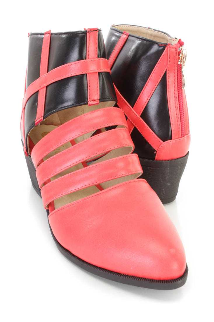 Red Black Two Tone Strappy Flats Faux Leather
