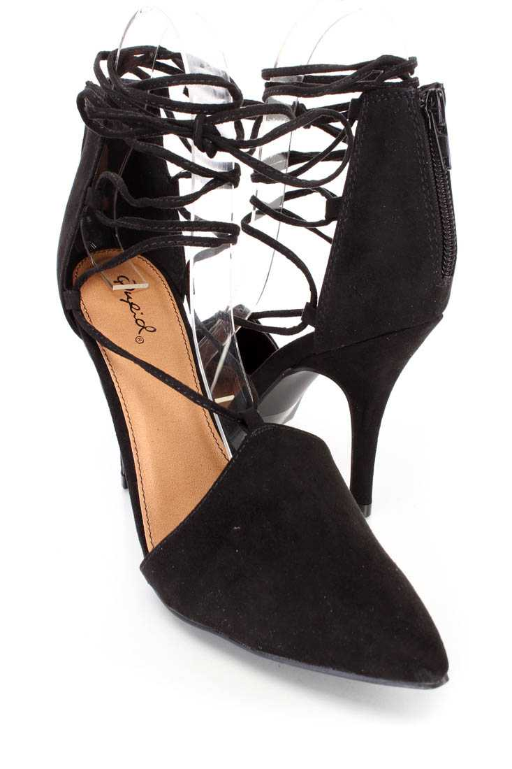 Black String Tie Single Sole High Heels Faux Suede