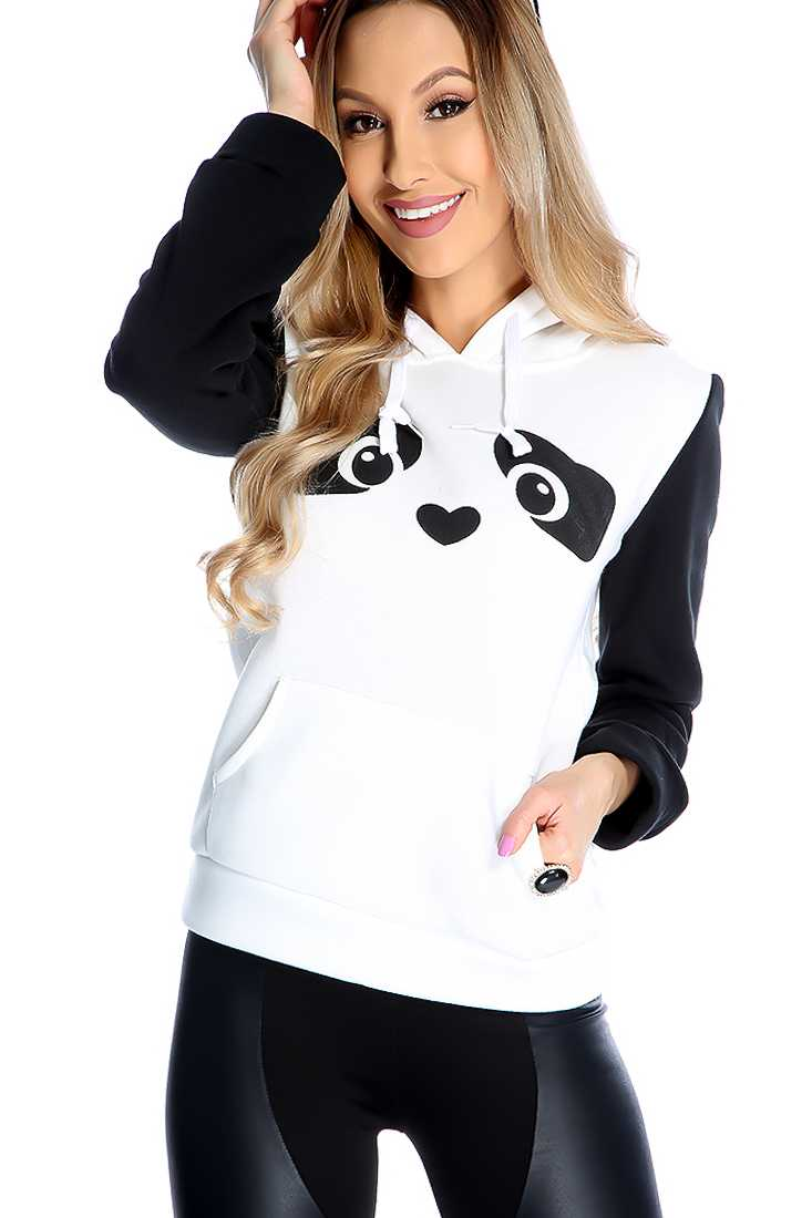 Casual White Black Animal Graphic Print Front Pocket Sweater
