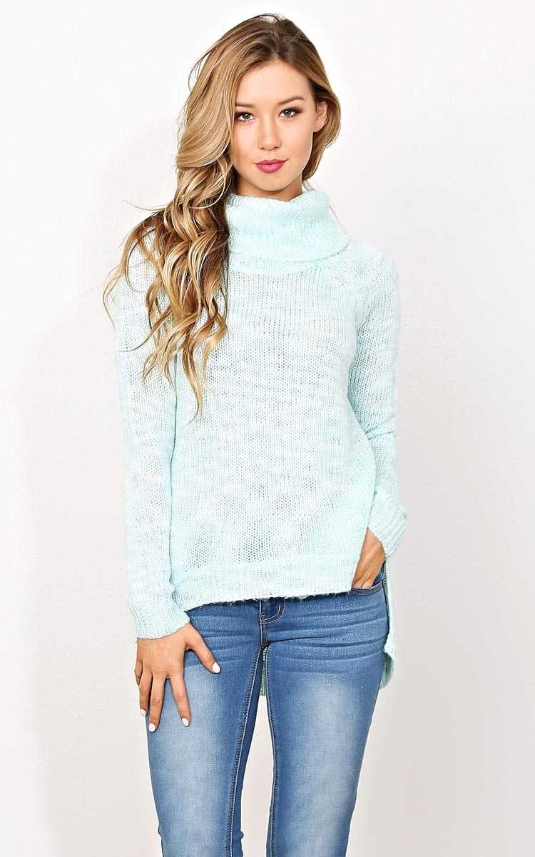 Mint Romy Knit Sweater - LGE - Mint Combo in Size Large by Styles For Less