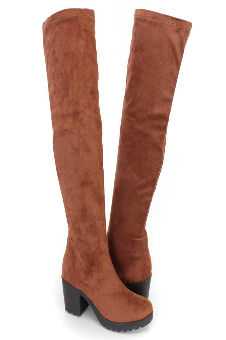Tan Thigh High Chunky Heel Boots Faux Suede