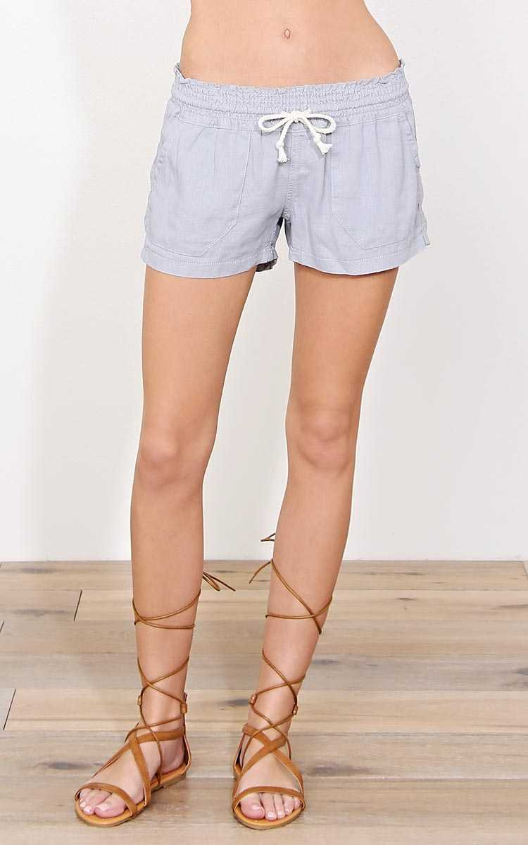 Grey Cape Cod Linen Shorts - - Lt. Grey in Size by Styles For Less