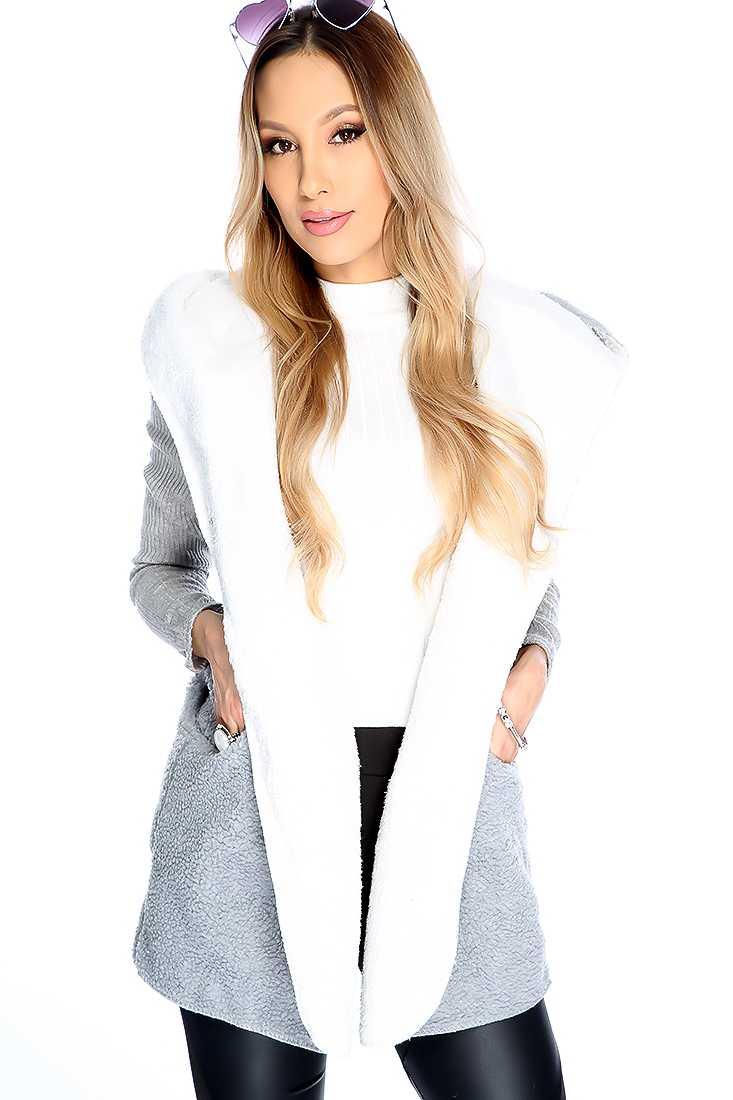Grey Long Sleeve Plush Fabric Sweater