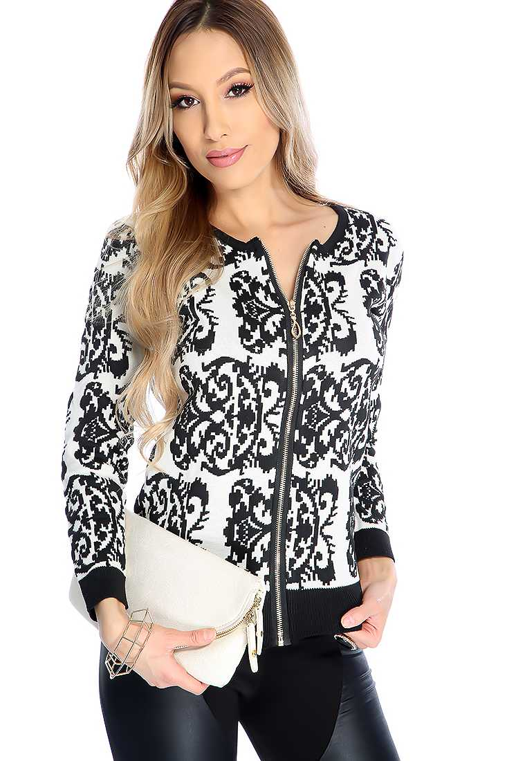 Black Damask Pattern Zip Up Sweater