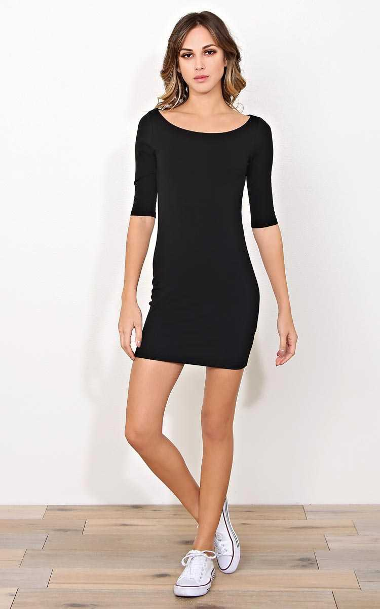 Black 3/4 Sleeve Mini Dress - - Black in Size by Styles For Less
