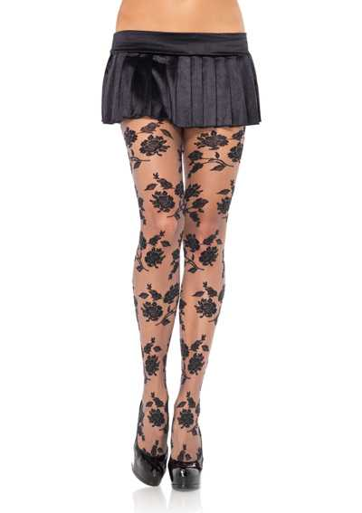 Grey Black Sheer Contrast Woven Floral Pantyhose Hosiery