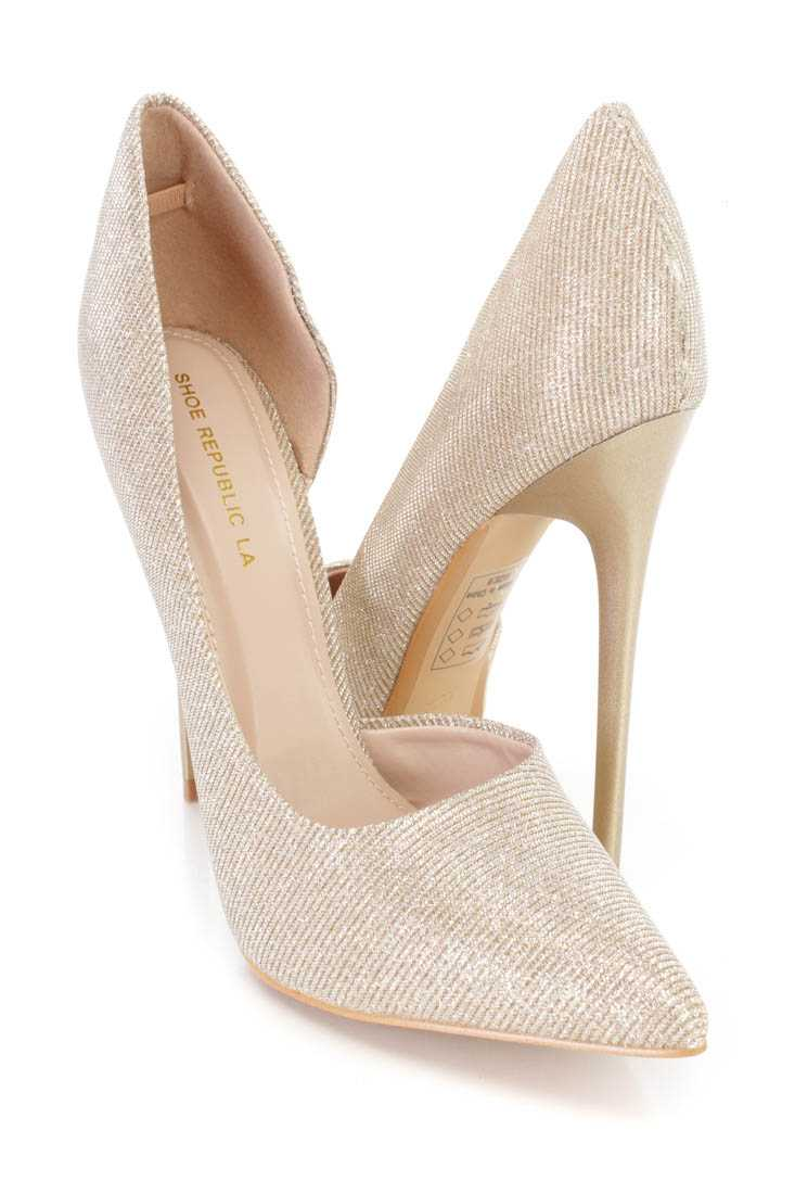 Gold Pointy Toe D-Orsay Pump Heels Shimmer Fabric