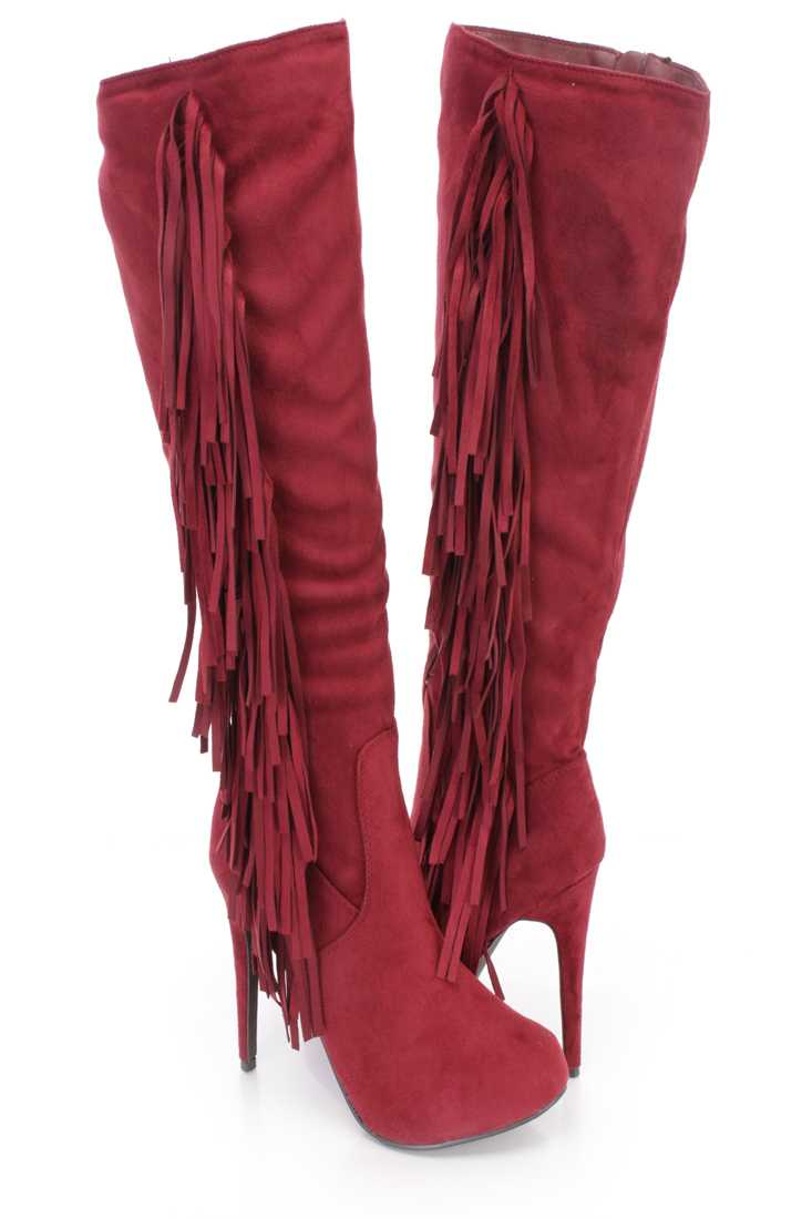 Berry Side Fringe Knee High Boots Faux Suede
