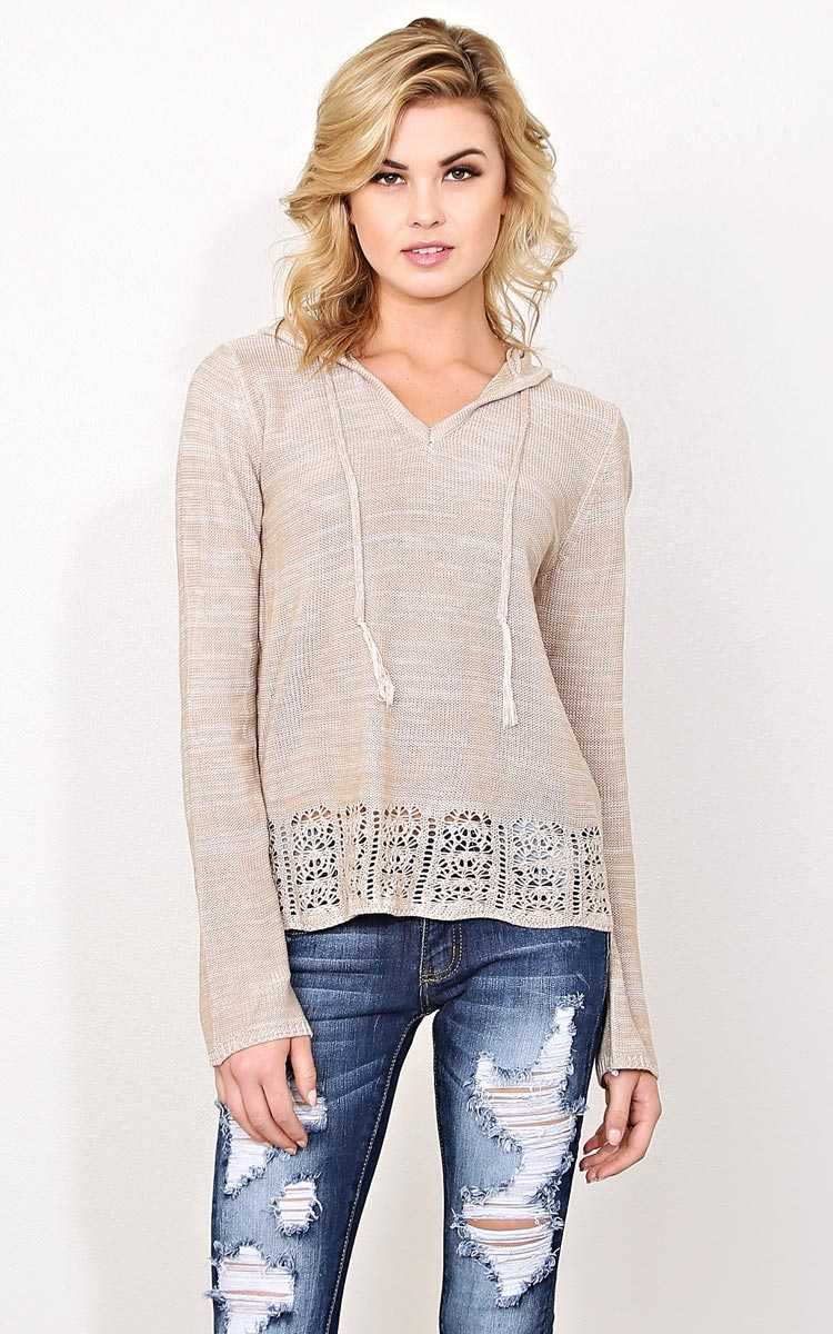 Curled Up Purl Knit Sweater - - Tan in Size by Styles For Less