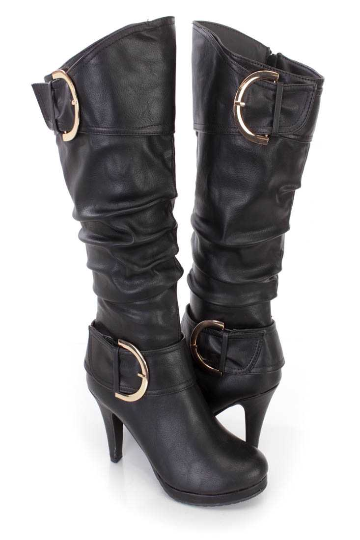 Black Slouchy Buckled High Heel Boots Faux Leather