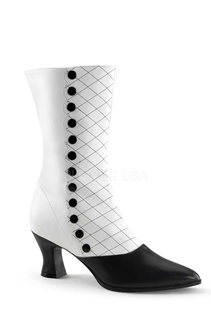 White Black Two Tone Mid Calf Boots Faux Leather