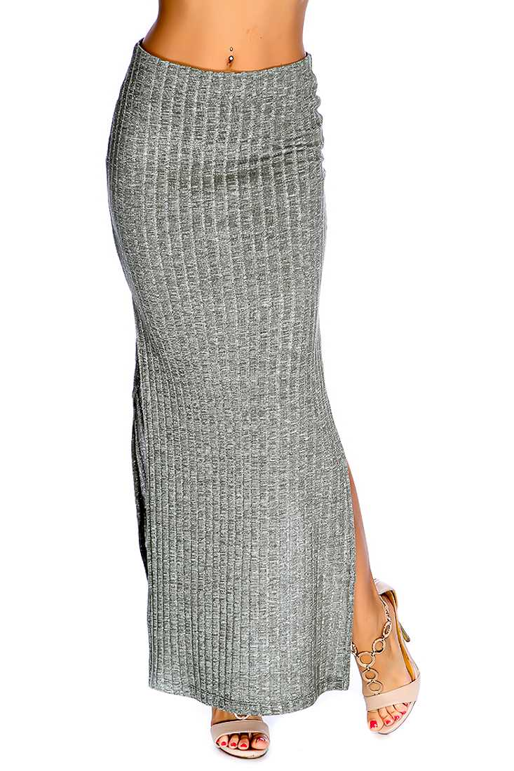 Olive Double Side Slit Ribbed Casual Maxi Skirt