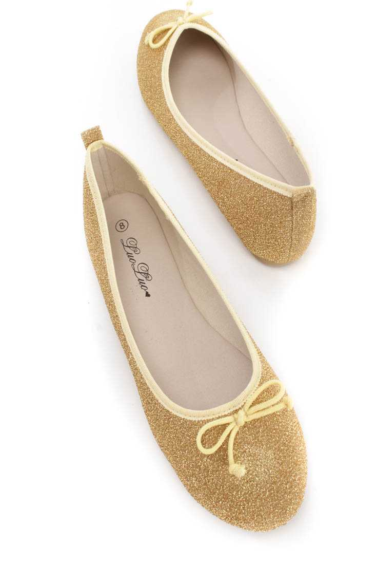 Gold Bow Tie Closed Toe Ballet Flats Shimmer Fabric