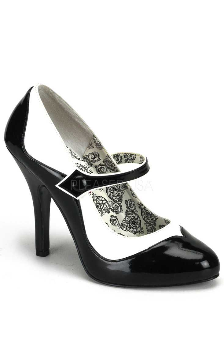 Black White Two Tone Maryjane High Heels Faux Leather