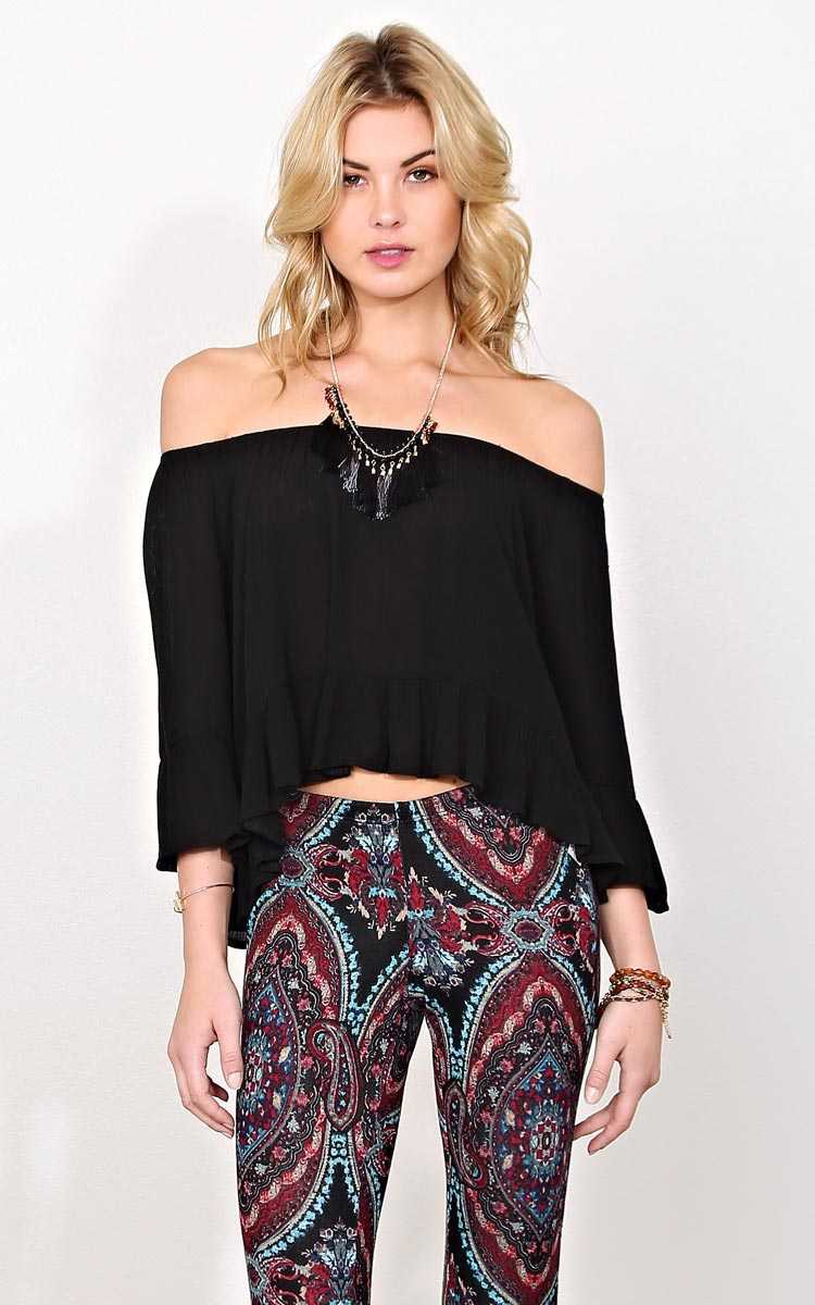 Louise Off The Shoulder Top - LGE - Black in Size Large by Styles For Less