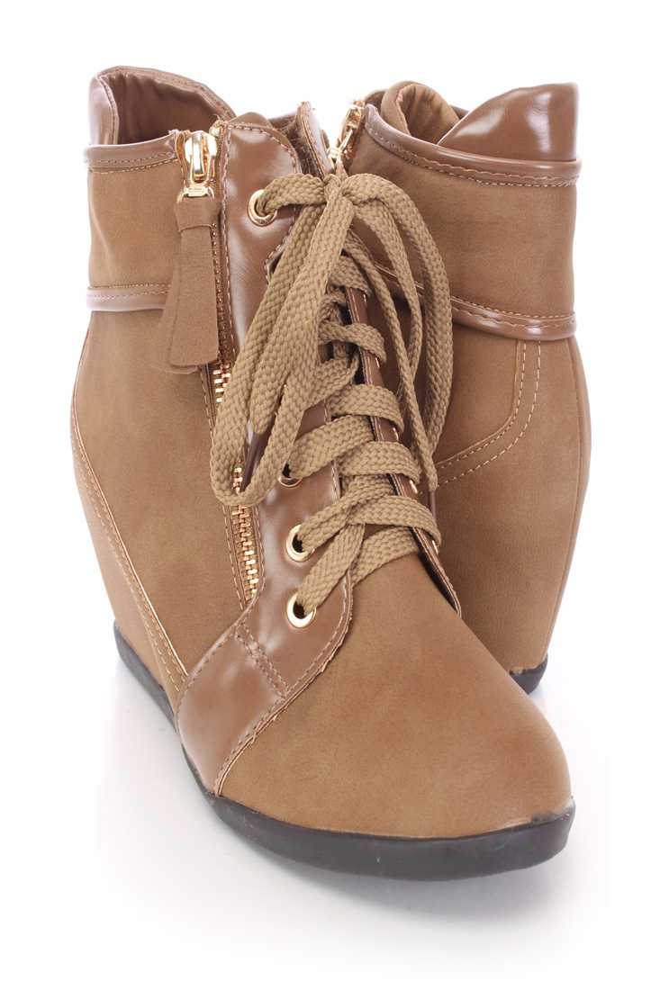 Khaki Zipper Detailed Lace Up Sneaker Wedges Faux Leather